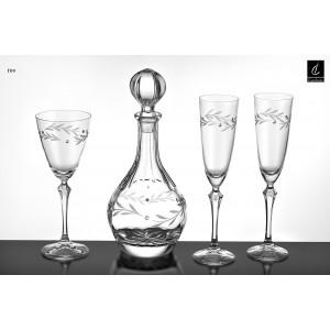 Σετ Γάμου 4 τμχ Καράφα, Ποτήρι Κρασιού & 2 ποτήρια Σαμπάνιας (09) Σχ. Ελιά