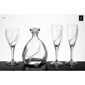 Σετ Γάμου 4 τμχ Καράφα, Ποτήρι Κρασιού & 2 ποτήρια Σαμπάνιας (Γ21)Σχ. Πέρλα&Στρας