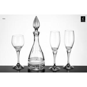 Σετ Γάμου 4 τμχ Καράφα, Ποτήρι Κρασιού & 2 ποτήρια Σαμπάνιας (Γ026) με Στρας