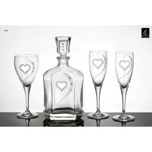 Σετ Γάμου 4 τμχ Καράφα, Ποτήρι Κρασιού & 2 ποτήρια Σαμπάνιας (05) Σχ. Καρδιά