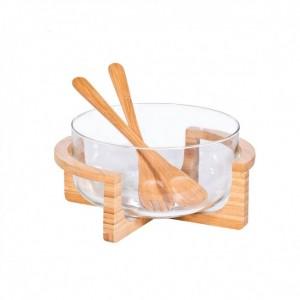 Marva Σαλατιέρα σε βάση με κουτάλες Bamboo