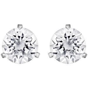 Swarovski Σκουλαρήκια Επιπλατινωμένα Τρυπητά-Λευκή Πέτρα,Solitaire(1800046)