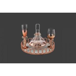 Σετ Γάμου 2τμχ Καράφα-Ποτήρι Κρασιού Σε Ροζ-Χρυσό (SK1651688-SP1650788)