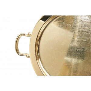 Δίσκος επάργυρος στρογγυλός  Χρυσός με Χεράκια και Σχέδιο Δαντέλα(40εκ.)(3080/LA-1/S2)