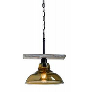 Arkolight Φωτιστικό Οροφής Κρεμαστό Ράγα Ξύλο/Γυαλί Μαύρο 373-3/1Γ