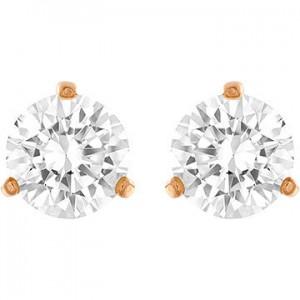 Swarovski Σκουλαρήκια Τρυπητά Επίχρυσα-Ροζ Χρυσό-Λευκή Πέτρα,Solitaire(5112156)