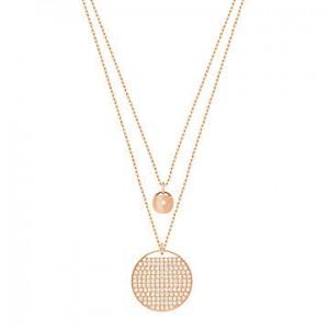 Swarovski Κολιέ Διπλό  Επίχρυσο-Ροζ Χρυσό-Λευκές πέτρες,Ginger(5253286)