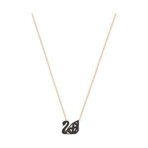 Swarovski Κολιέ Μαύρος Κύκνος Επίχρυσο-Ροζ Χρυσό,Διπλής όψεως,Facet Swan(5281275)&Δώρο Swarovski