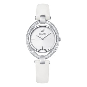 SWAROVSKI ΡΟΛΟΙ ΛΕΥΚΟ STELLA WATCH, LEATHER STRAP, WHITE, SILVER TONE 5376812