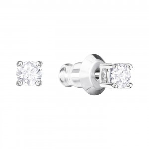 Swarovski Σκουλαρίκια Επιπλατινωμένα Τρυπητά-Λευκή Πέτρα,Attract Round(5408436)