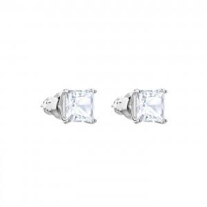 Swarovski Σκουλαρίκια Τετράγωνα Τρυπητά Επιπλατινωμένα-Λευκή Πέτρα,Attract Stud(5430365)