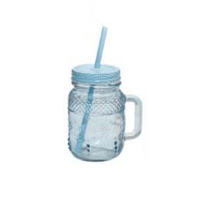 Ποτήρι Με Καπάκι - Καλαμάκι Γαλάζιο 450ml Marva (732017G)