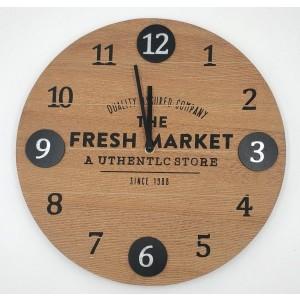 Ρολόι Τοίχου Ξύλινο 38x3,5εκ. Fresh Market Marva (834008)