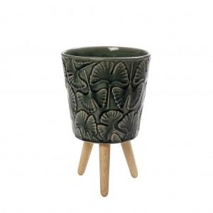 Μπωλ Κεραμικό Πράσινο Με Ξύλινα Πόδια 10,5εκ. Espiel (CER2205)