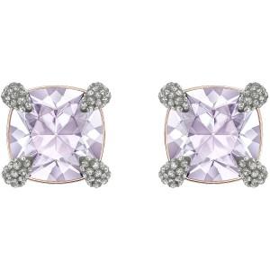 Swarovski Σκουλαρήκια Επίχρυσα Ροζ Χρυσό, Make Up Violet (5430408)