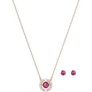 Swarovski Σετ Κολιέ Με Σκουλαρίκια Ροζ Χρυσό Με Φουξ Κρύσταλλο Sparkling Dance Round Set, Red, Rose gold plating, 5480494