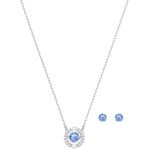 Swarovski Σετ Κολιέ Με Σκουλαρίκια Επιπλατινωμένα Με Γαλάζιο Κρύσταλλο Sparkling Dance Round Set, Blue, Rhodium plating, 5480485
