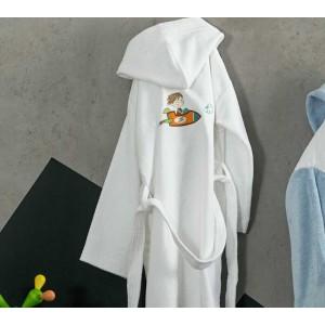 """Μπουρνούζι Παιδικό """"Bang"""" Nima No4  Λευκό με σχέδιο Αεροπλανάκι 100% Cotton(303825)"""