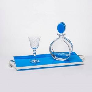 Σετ Γάμου 3τμχ, Καράφα,ποτήρι,δίσκος(20x50cm)σε γαλάζιο Πλεξιγκλας&Κρύσταλλο,σχέδιο Blue Sea( PNT-751)