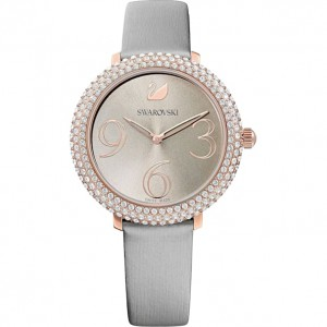 SWAROVSKI ΡΟΛΟΪ ΕΠΙΧΡΥΣΟ CRYSTAL FROST WATCH, LEATHER STRAP, GRAY, ROSE-GOLD TONE PVD 5484067