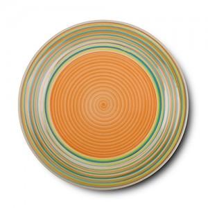 """Πιάτο ρηχό stoneware """"Lines orange"""" 27cm 10-141-001"""