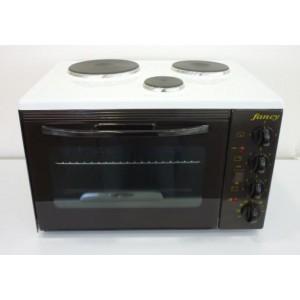 FANCY 0001 Κουζινάκι Επιτραπέζιο, 3 Εστιών,Αντιστάσεων, 1500 Watt, Λευκο ΜΕ ΦΩΣ