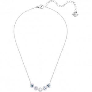 SWAROVSKI Κολιέ Επιπλατινωμένο Με Μπλε Κρύσταλλα Angelic Square Necklace Blue 5294622