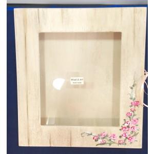 Στεφανοθήκη Ξύλινη Χειροποίητη Με Ροζ Τριανταφυλλάκια Ζωγραφισμένα (SROZ556997)