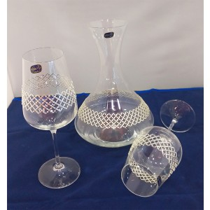 Σετ Γάμου 3τμχ Καράφα + 2 Ποτήρια Κρασιού από Οικολογικό Κρύσταλλο 558796555