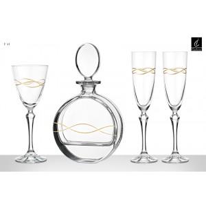 Σετ Γάμου 4 Τμχ Καράφα, Ποτήρι Κρασιού & 2 Ποτήρια Σαμπάνιας Capolavoro (Γ41)