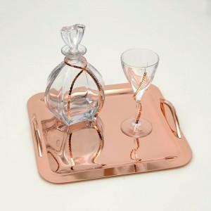 Σετ Γάμου 3τμχ, καράφα,ποτήρι,δίσκος σε Ροζ Χρυσό Σχέδιο DALIA ROSE GOLD(237)