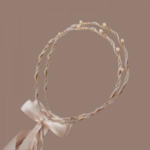 Στέφανα γάμου από μεταλλική χρυσή βέργα S082890