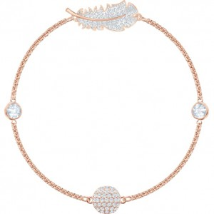 SWAROVSKI ΒΡΑΧΙΟΛΙ ΕΠΙΧΡΥΣΟ REMIX COLLECTION FEATHER STRAND, WHITE, ROSE-GOLD TONE PLATED 5511003
