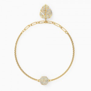 Swarovski Remix Collection Tropical Leaf Strand, White, Gold-Tone Plated (5528850)