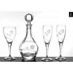 Σετ Γάμου 4 Τμχ Καράφα, Ποτήρι Κρασιού & 2 Ποτήρια Σαμπάνιας Capolavoro G10