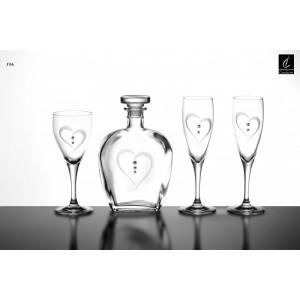Σετ Γάμου 4 Τμχ Καράφα, Ποτήρι Κρασιού & 2 Ποτήρια Σαμπάνιας Capolavoro G06