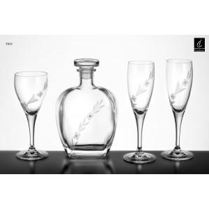 Σετ Γάμου 4 Τμχ Καράφα, Ποτήρι Κρασιού & 2 Ποτήρια Σαμπάνιας Capolavoro G23