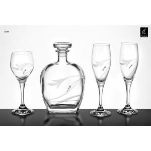 Σετ Γάμου 4 Τμχ Καράφα, Ποτήρι Κρασιού & 2 Ποτήρια Σαμπάνιας Capolavoro G30