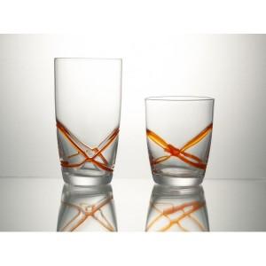 Σετ 6τμχ Χειροποίητα Ποτήρια Ουίσκυ με Ανάγλυφες Γραμμές Πορτοκαλί 300ml Cryspo Trio X-Treme