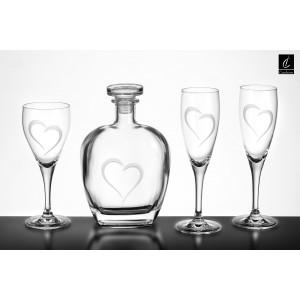 Σετ Γάμου 4 τμχ,Καράφα, Ποτήρι Κρασιού & 2 Ποτήρια Σαμπάνιας Σχ. Καρδιά(Γ020)