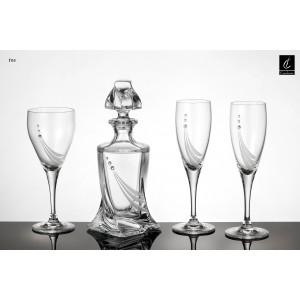 Σετ Γάμου 4 τμχ Καράφα, Ποτήρι Κρασιού & 2 ποτήρια Σαμπάνιας (Γ03) με Στρας