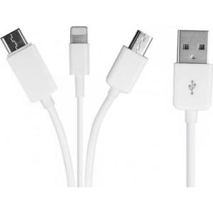 Powertech Regular USB to Lightning / Type-C / micro USB Cable Λευκό 0.2m (CAB-U087)