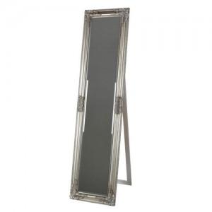 Ορθογώνιος ασημί ξύλινος καθρέπτης δαπέδου Υ160x40cm F098S