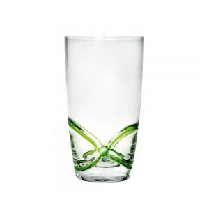 Σετ 6τμχ Χειροποίητα Ποτήρια Σωλήνα Νερού με Ανάγλυφες Γραμμές Πράσινο 450ml Cryspo Trio X-Treme