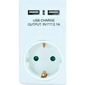 Powertech 2x USB Wall Adapter Λευκό (PT-767)