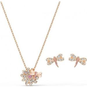 Swarovski Σετ Κολιέ Σκουλαρήκια Επίχρυσα Ροζ Χρυσό, Eternal Flower Dragonfly (5518141)