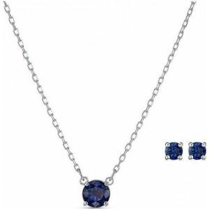 Swarovski Σετ Κολιέ - Σκουλαρήκια Επιπλατινωμένο, Attract Blue (5536554)