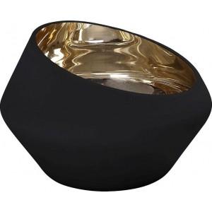 Κηροπήγιο Γυάλινο Μαύρο Με Χρυσό 13.5εκ. Espiel (XEN208)