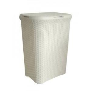 Καλάθι Απλύτων Rattan Μακρόστενο Λευκό 40lt