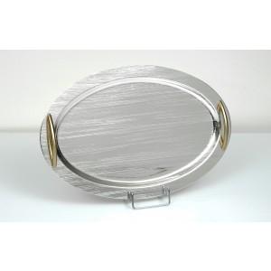 Δίσκος Οβάλ Inox Γραμμωτός-Σαγρέ-Χρυσά Χέρια(43χ28εκ.)Νο3087